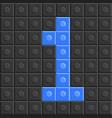 puzzle building blocks number one flat design vector image