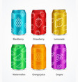 realistic steel color can juice concept set vector image vector image