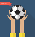 Referee hand holding a soccer ball vector image vector image