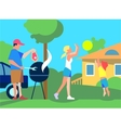 Resting with Family on Back Yard Flat Style vector image