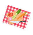 salad ingredients on cutting board vector image vector image