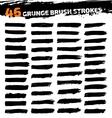 set black different grunge brush strokes vector image vector image