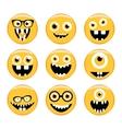 set emoticons emoji monster faces in glasses vector image