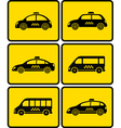 set of cars with taxi symbol vector image vector image
