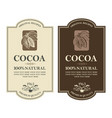 set of cocoa labels vector image vector image