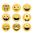Set of Emoticons Emoji Monster faces in glasses vector image vector image