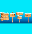 set of wooden road signs vector image