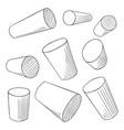 sketch cylinders penciling outline perspective vector image vector image