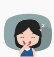 small girl sleepy tired yawning vector image vector image
