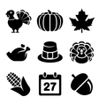Thanksgivin Icons Set Isolated on White Background vector image