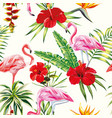 tropical composition flamingo flowers and plants vector image vector image