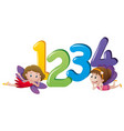 two fairies and numbers one to four vector image vector image
