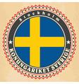 vintage label cards sweden flag vector image vector image