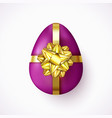 violet easter egg with gold ribbon and gift bow vector image vector image