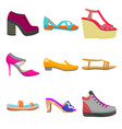 woman colorful shoes in cartoon style vector image vector image