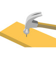 working hammer nails and boards vector image