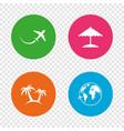 travel trip icon airplane world globe symbols vector image