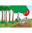 A zebra and a hot air balloon at the forest vector image vector image