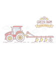 Agribusiness of farm tractor with plow isol vector image