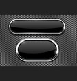 black glass buttons with chrome frame on metal vector image