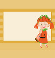 border design with girl in pumpkin costume vector image
