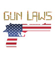 bullet gun laws with america flag hand gun vector image vector image
