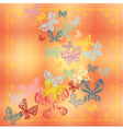 Butterfly set isolated on orange background vector image vector image