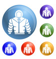 climb mountain clothes icons set vector image
