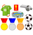 colorful cartoon soccer 9 elements set vector image