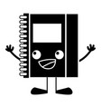 contour happy notebook object kawaii with arms and vector image vector image