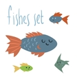 cute cartoon fishes set vector image vector image