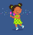 cute little girl playing maracas vector image
