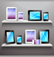 Devices On Shelves vector image