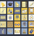 Education School Flat Icon Set vector image