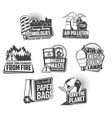 environment pollution and save energy icons vector image
