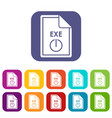 file exe icons set vector image vector image
