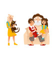 flat afamily characters hugging set vector image vector image