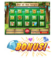 Game template with animals in jungle vector image vector image