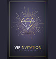 golden vip invitation template with gold diamond vector image