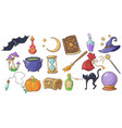 halloween magic and spell signs set wizard hat vector image vector image
