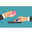 Hands holding money plastic card Exchange transfer vector image vector image