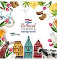 holland travel frame background poster vector image vector image