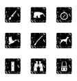 Hunting of animals icons set grunge style vector image vector image
