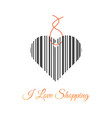 i love shopping price tag with bar code vector image vector image
