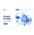 invest in idea isometric landing page vector image vector image
