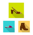 isolated object of footwear and woman logo set of vector image