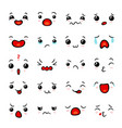 kawaii emoticon face set vector image