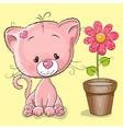 Kitten with flower vector image vector image