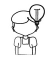 line boy with bulb idea and hairstyle design vector image vector image