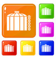 oil storage tank icons set color vector image vector image